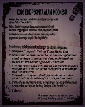 Kode Etik Pecinta Alam Indonesia Terbaru