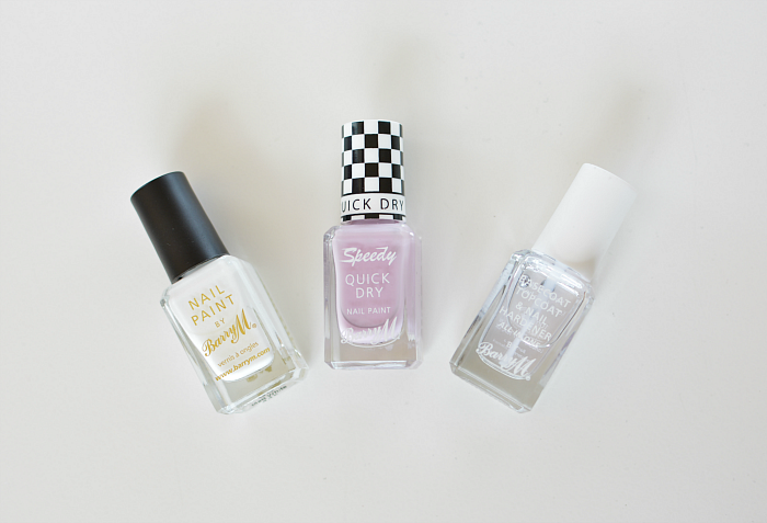 Barry M Speedy Quick Dry Nail Polish in Lap of Honour, White & Clear Topcoat Review