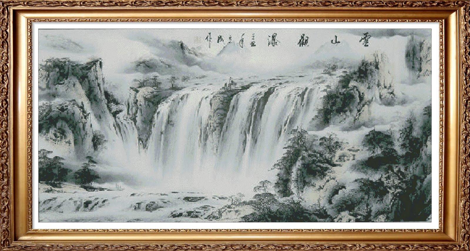 kristik [cross stitch] pemandangan air terjun , versi lukisan cina ...