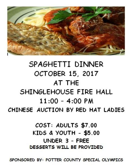 10-15 Spaghetti Dinner For Special Olympics
