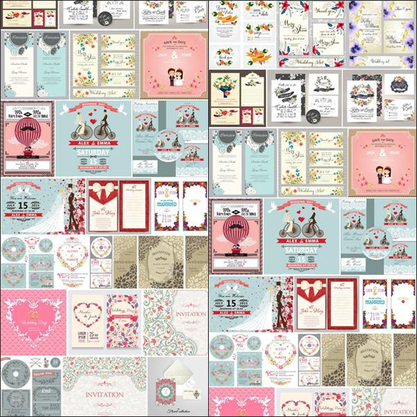 مجموعة بطاقات زواج متنوعة بصيغة EPS