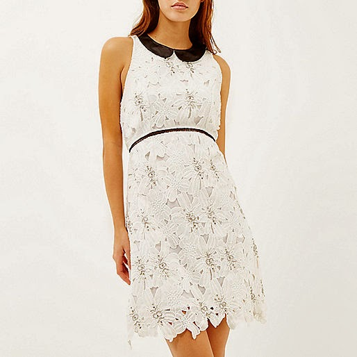 white lace dress with black collar, white dress black leather collar,