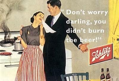 Propaganda machista da Cerveja Schlitz, em 1955. Veiculada nos Estados Unidos.
