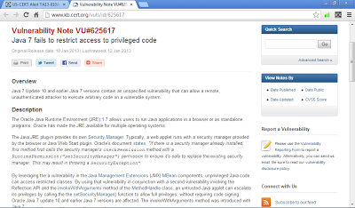 Vulnerability Note VU#625617: Java 7 fails to restrict access to privileged code