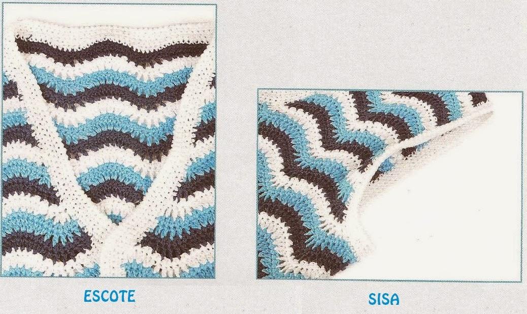 Chaleco en Punto Fantasía Pavo Real a Crochet Modelo N°3   Tejidos a ...