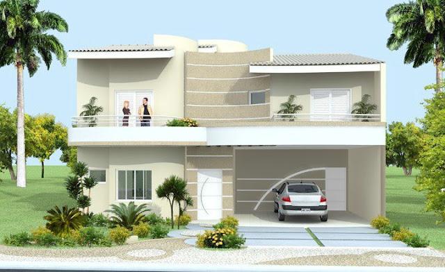 Construindo minha casa clean fachadas com ou sem telhado for Molduras contemporaneas