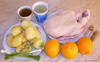 ingrediente rata cu portocale, ingrediente friptura de rata cu portocale si cartofi noi la cuptor, retete cu rata, retete cu portocale, preparate din carne de rata, preparate din portocale, retete culinare,