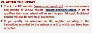UPCAT 2014 2015 results in February 2014
