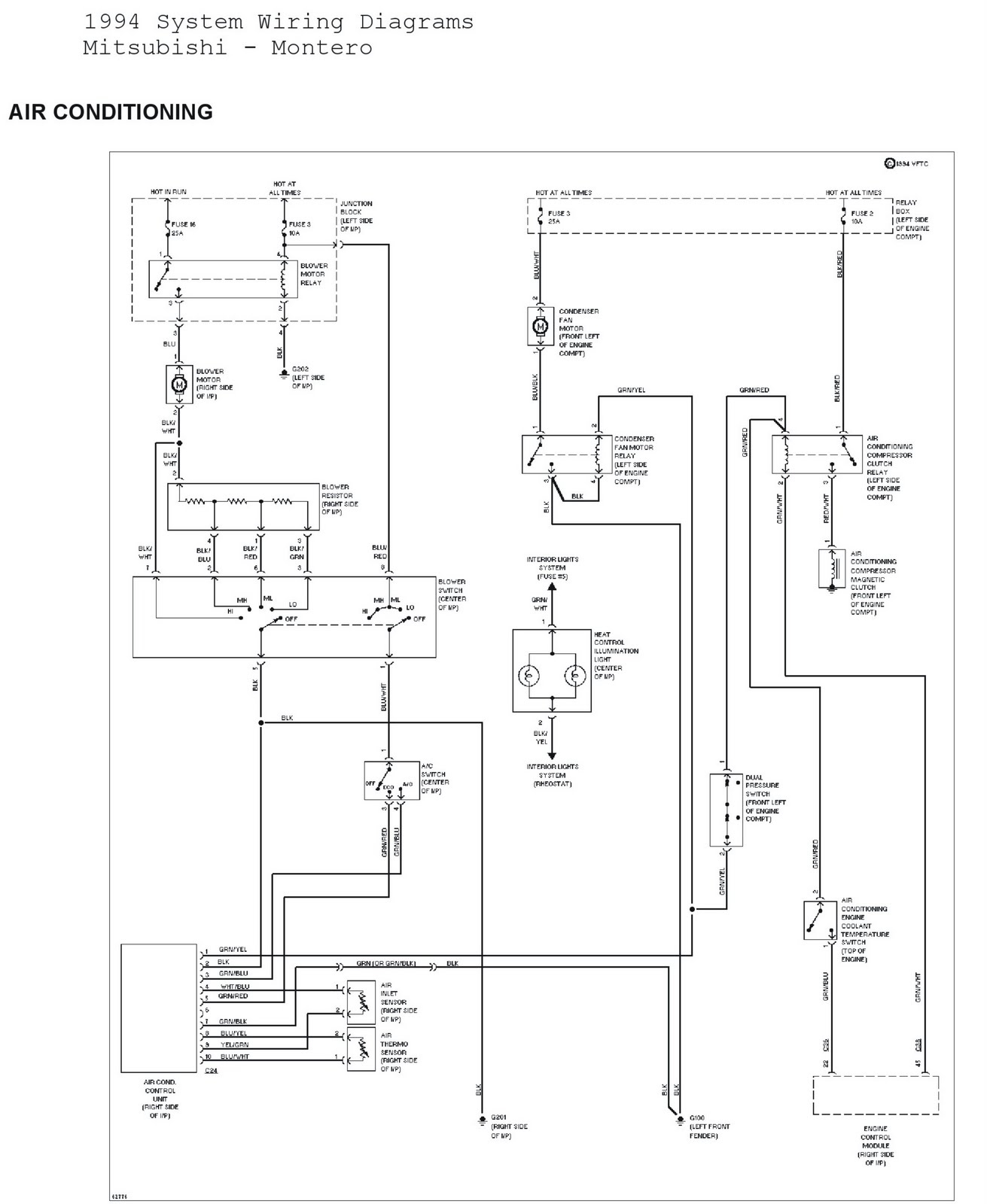 1994 Mitsubishi Montero System Wiring Diagrams Air Conditioning