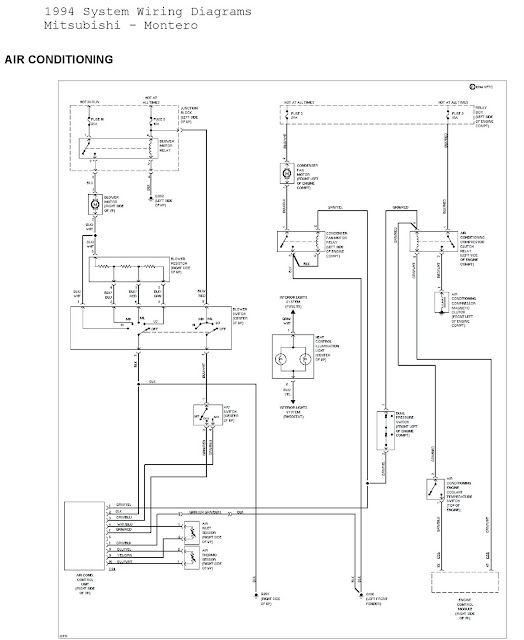 1994    Mitsubishi    Montero System    Wiring       Diagrams    Air Conditioning   Schematic    Wiring       Diagrams