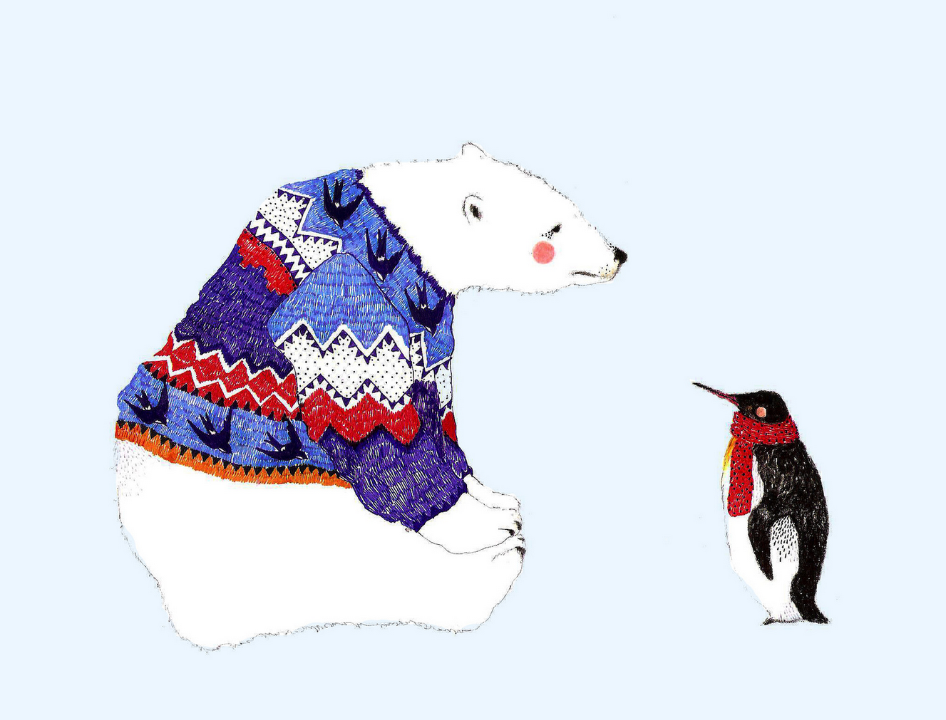 panda bear & penguin illustration by Daniela Dahf henriquez