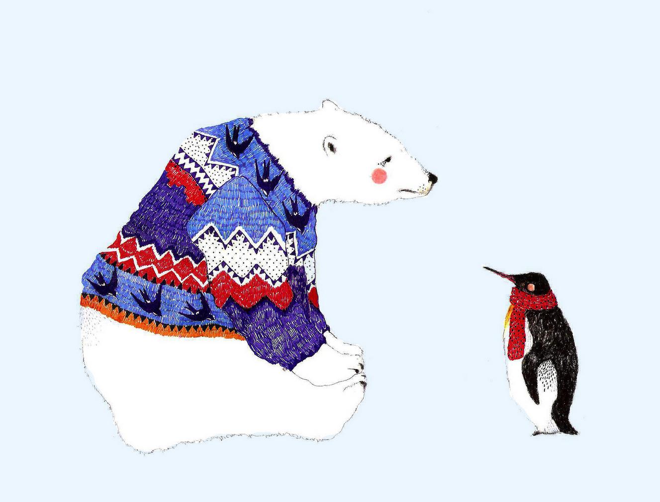 panda bear & penguin illustration by Daniela Dahf henriquez