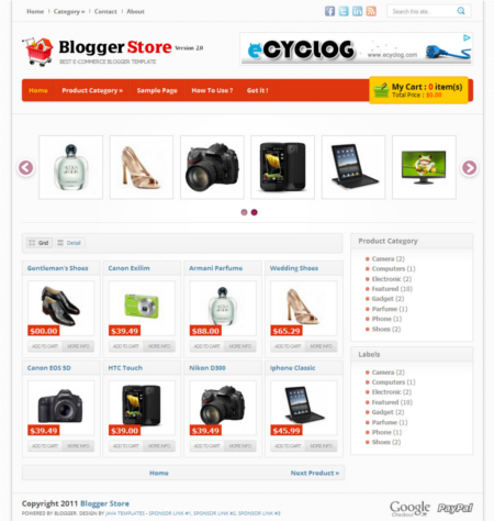 Templates E-comerce Blogger store V.2