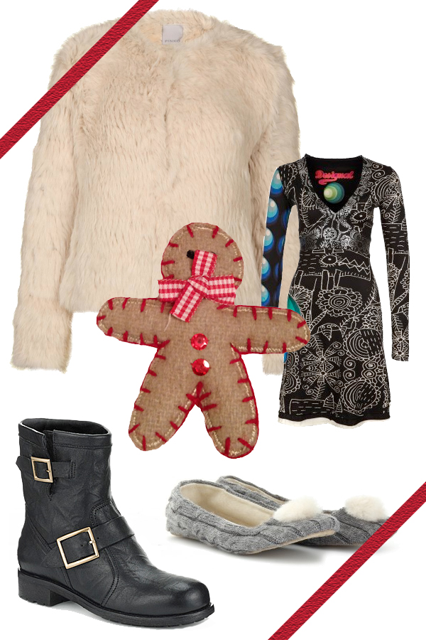 Lapin  Coat by Pinko, Disegual Dress, Jimmy Choo boots, UGG slippers
