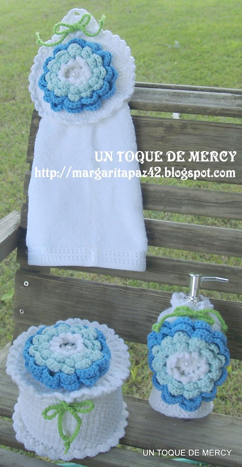 Accesorios De Baño A Crochet:DE MERCY: SET PARA BANO DE CROCHET//INCLUYE EL FORRO DEL EMBASE PARA