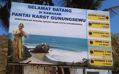 rute denah menuju ke pantai Gunungkidul Jogja