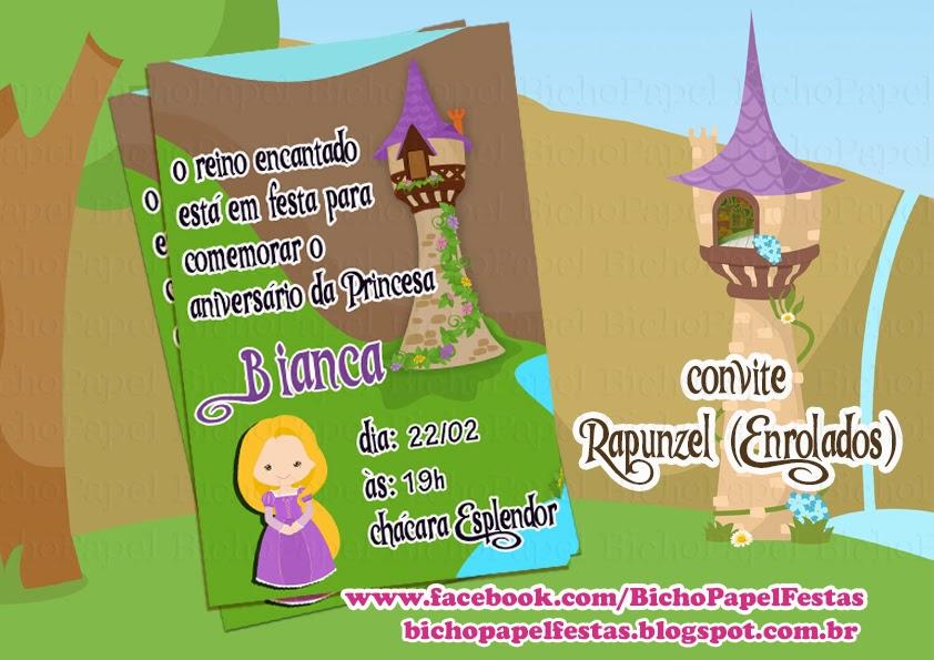 Arte Convite Rapunzel (Enrolados)