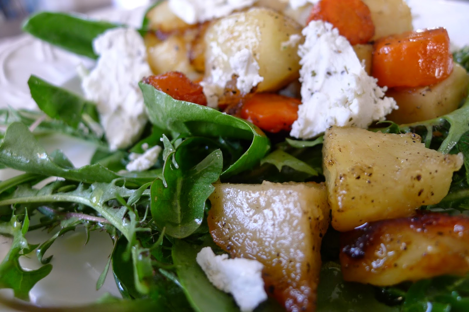 ... : Warm Maple Roasted Vegetables and Goat Cheese Over Spring Greens