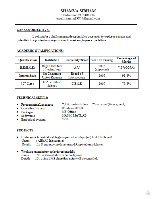 be ece resume for fresher