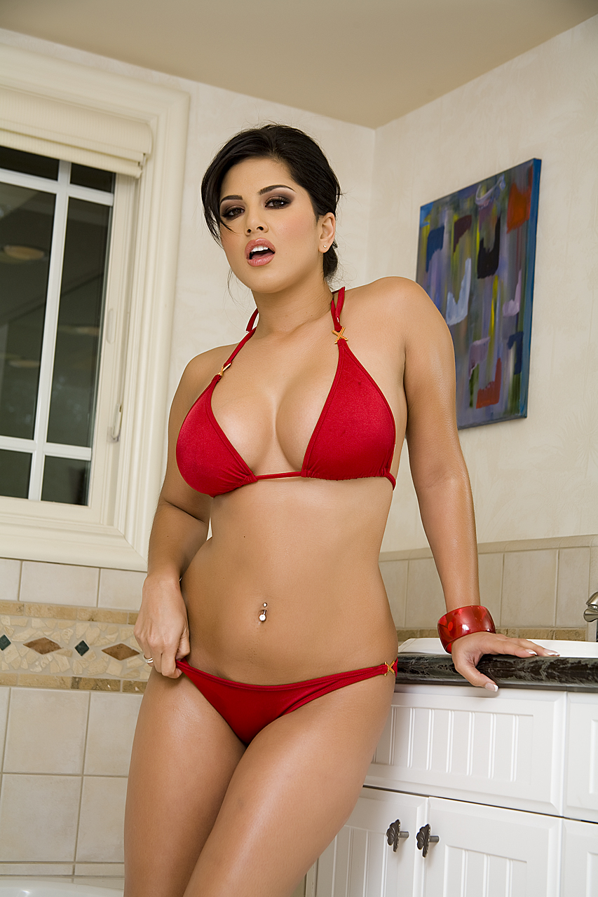 Sunny Leone Hot Stills In Red Bikini