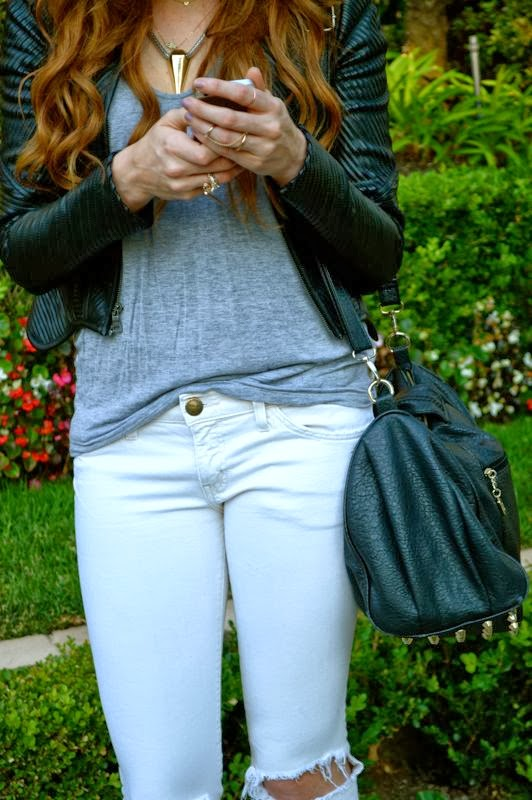 Weekend Casual-Golden Divine Blog- Ashley Murphy- BCBG Leather Jacket-Current Elliot Jeans-LA-LA fashion blogger