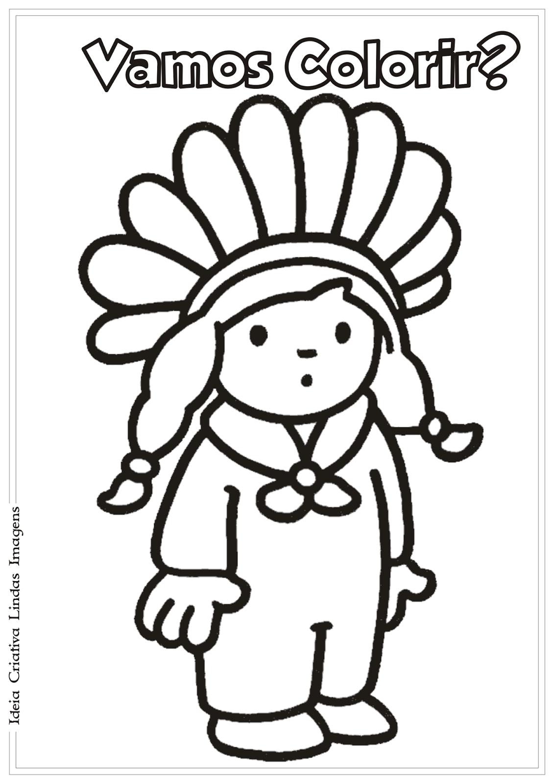 Dia do Índio desenho pra colorir