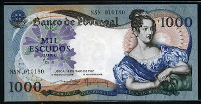 Portugal paper money currency 1000 Escudos Queen Maria II of Portugal
