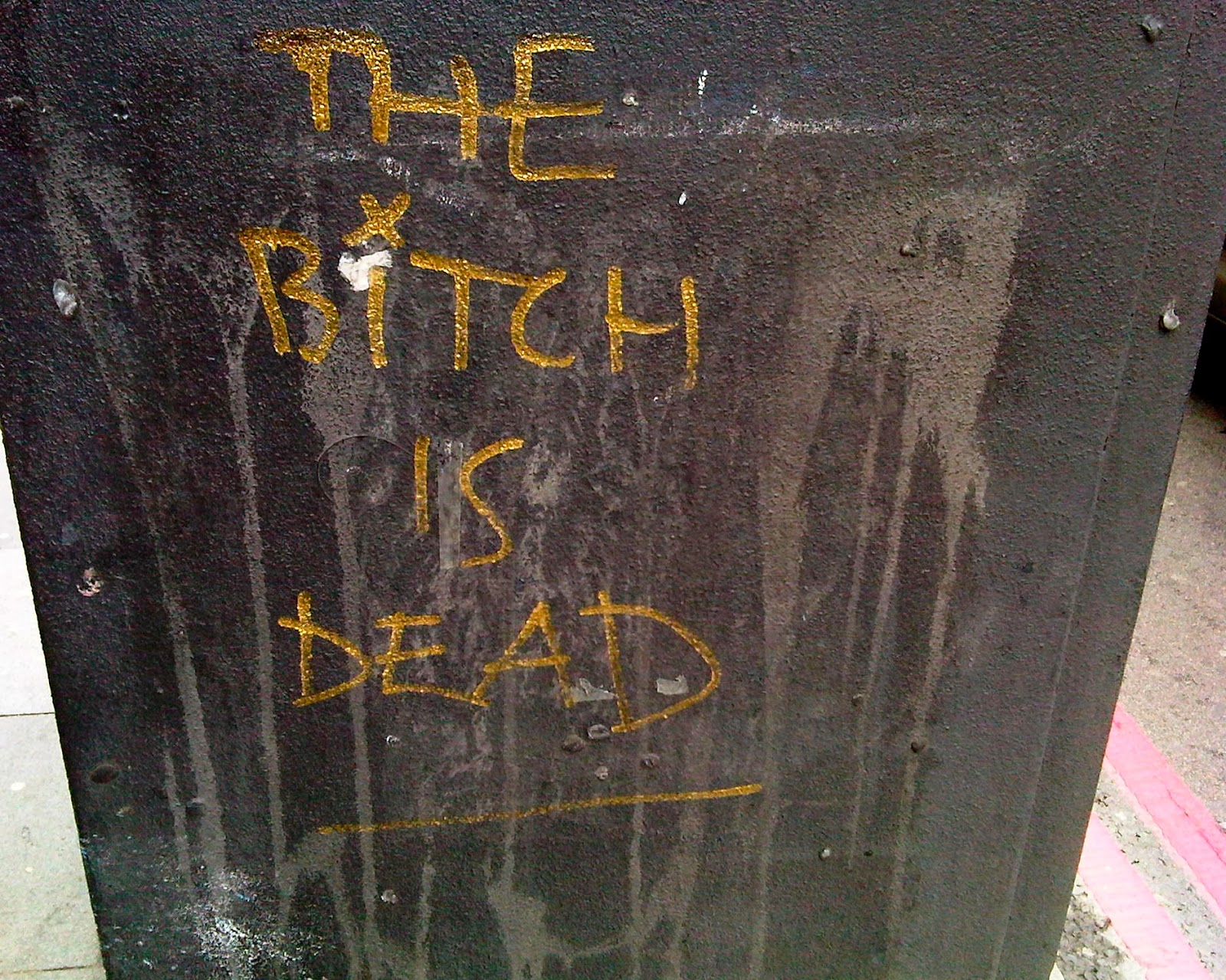 Anti-Thtacher graffiti appeared all over London the day former PM Margaret Thatcher died: this one seen in Brixton, London SW2.