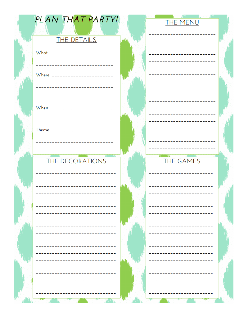 Craftivity Designs: Day 13: Party Planning Sheet
