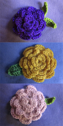 Broches flor de crochet