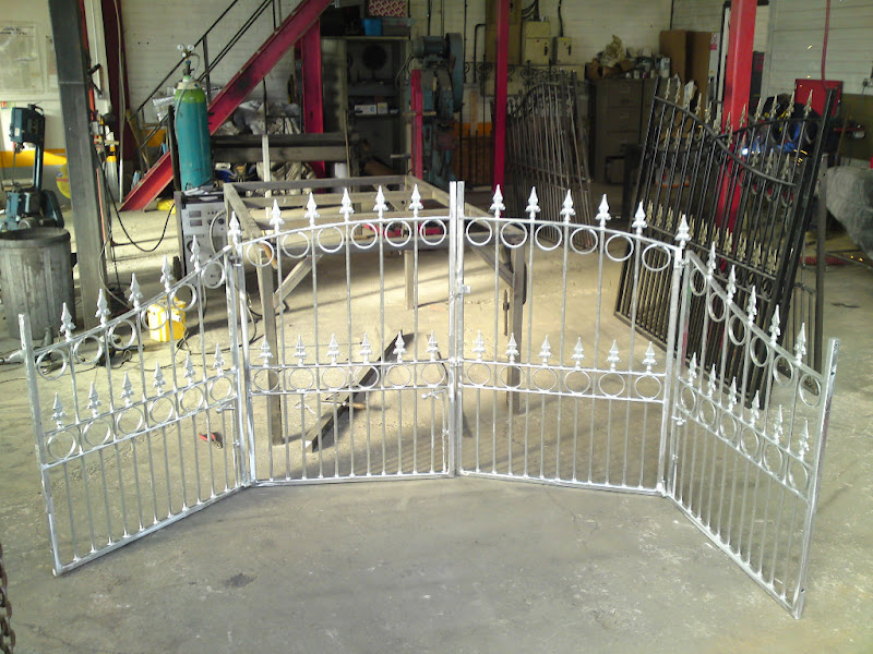 Wrought iron driveway gates powder coated title=