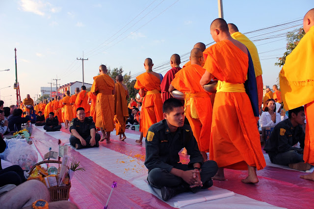 Monks alms-giving in Chiang Mai, monks, military cadets