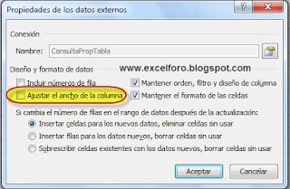 Propiedades de los datos externos: Ajustar el ancho de la columna.