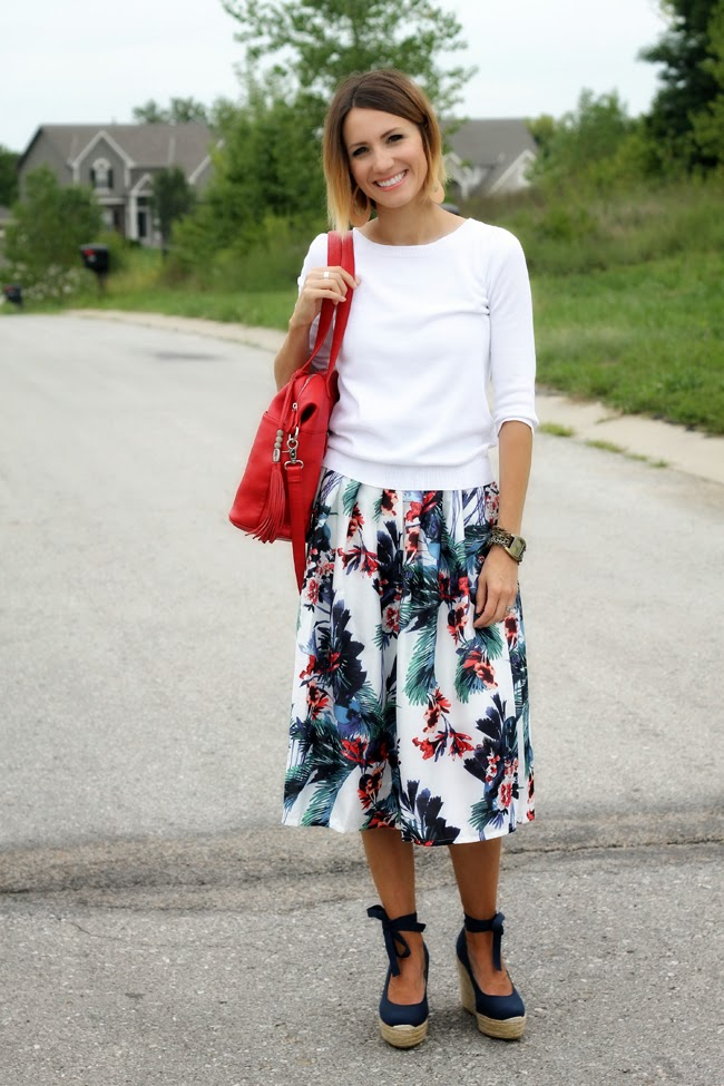 Floral midi skirt, white sweater and lace up wedges
