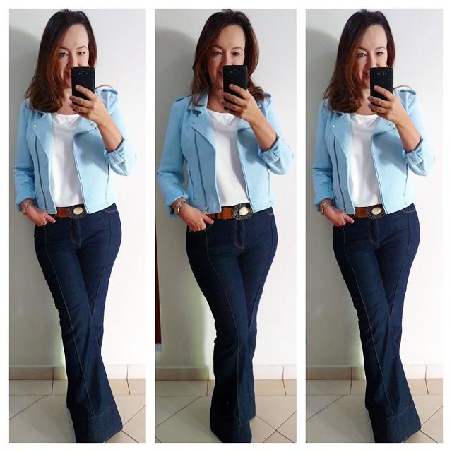 moda fast fashion, jaqueta azul, calça jeans flare, como usar, blog camila andrade, blog de moda em ribeirão preto, lojas renner, look lojas renner