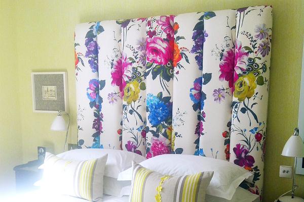 upholstered floral headboard