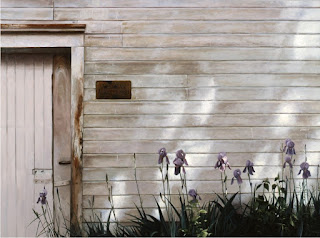 """Quite Spring Original Oil by Carroll Jones III """"rustic white shed with pale blue iris"""""""