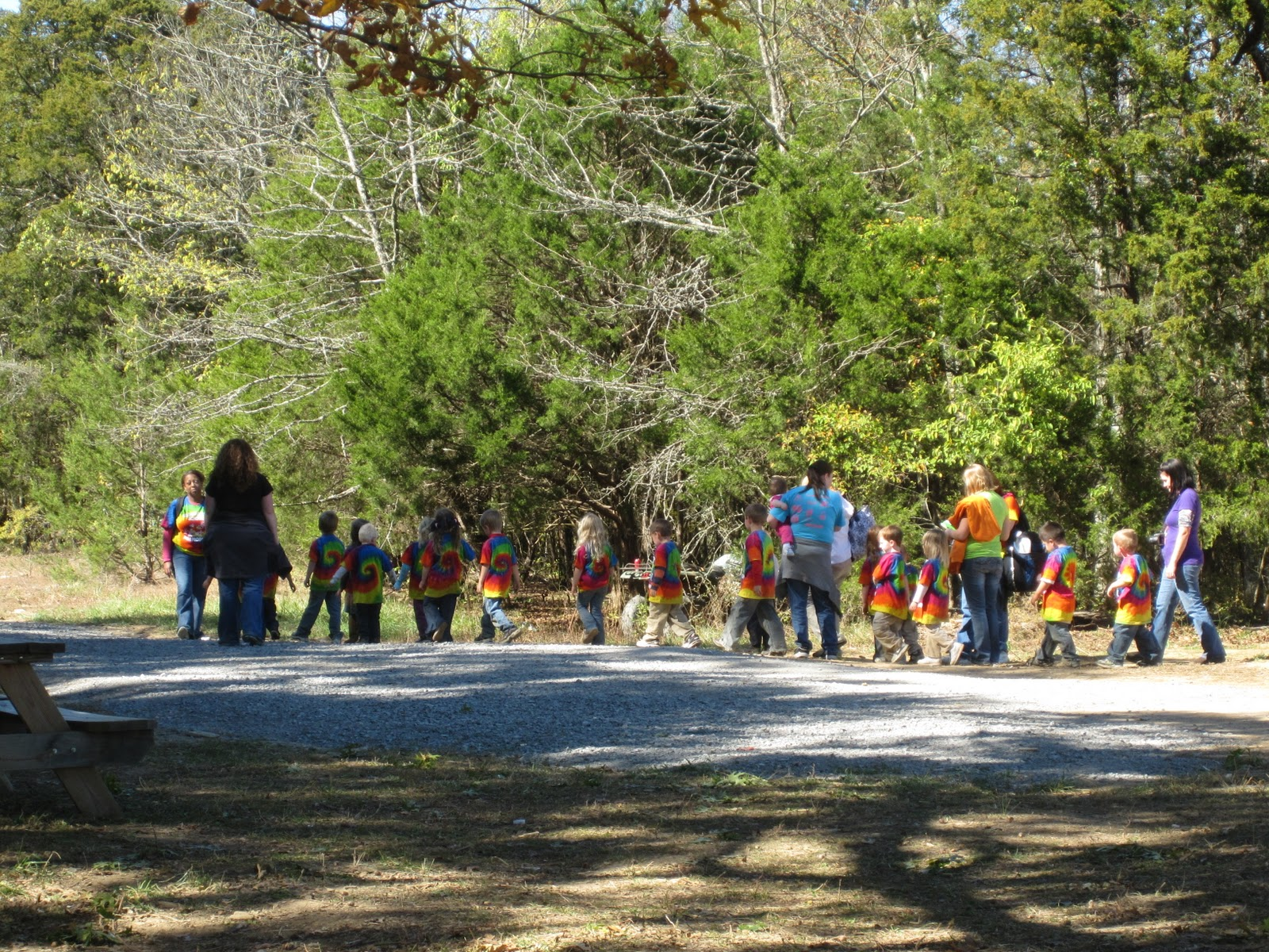 the pre k field trip was leaving just as we sat down to lunch