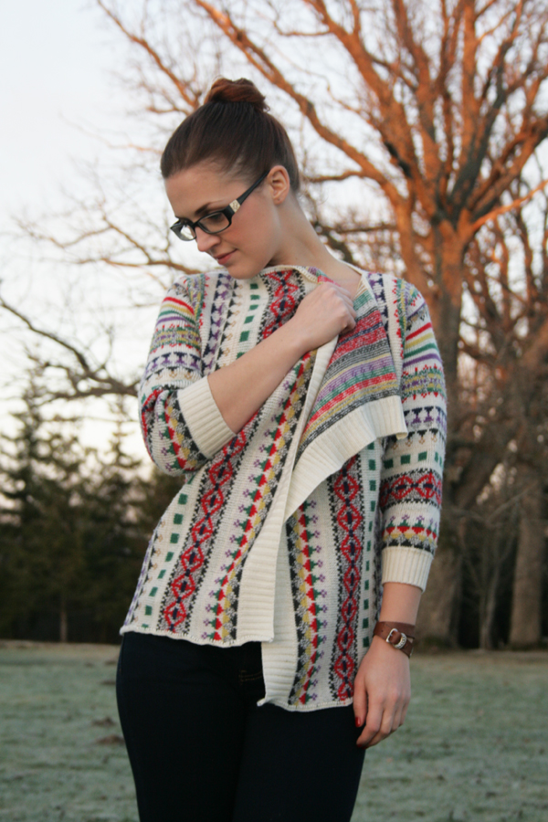 finished open front sweater