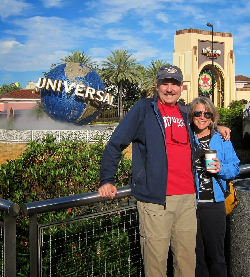 Matt and Lynne in front of the Universal globe