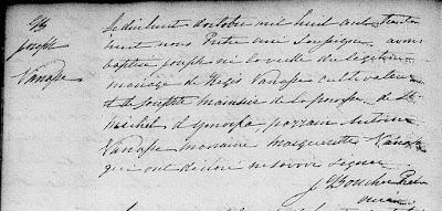 Joseph Vanasse 1838 baptism record