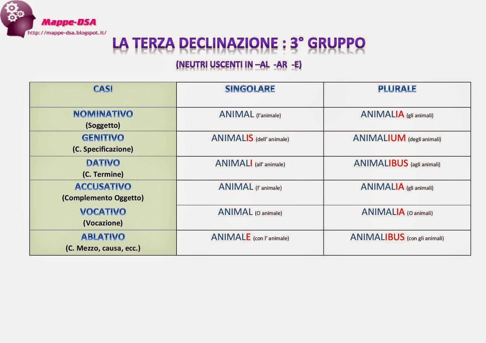 mappa dsa schema tabella latino declinazioni terza 3° declinazione terzo gruppo animal