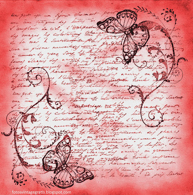 fondo vintage para scrapbooking en tono rosado y con mariposas