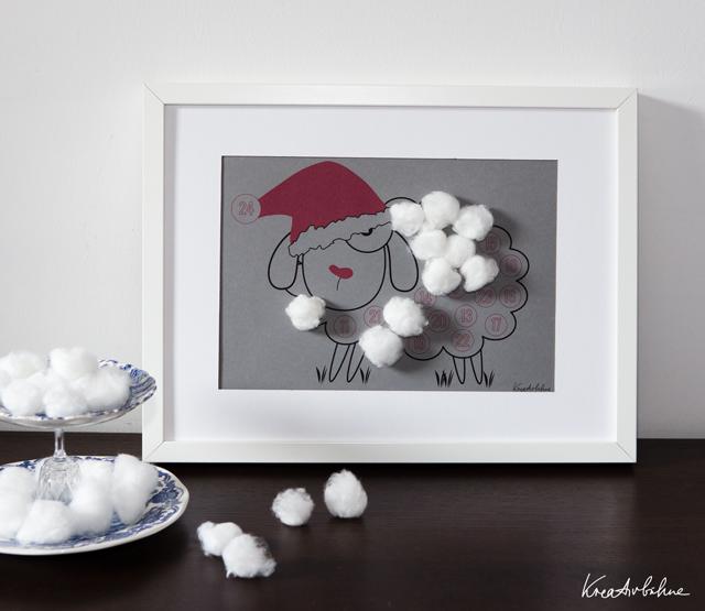 Weihnachtskalender basteln mit Watte