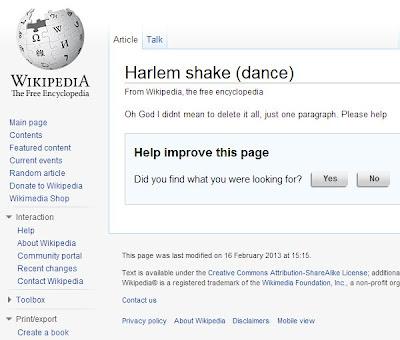 Harlem Shake Wikipedia Eintrag gelöscht
