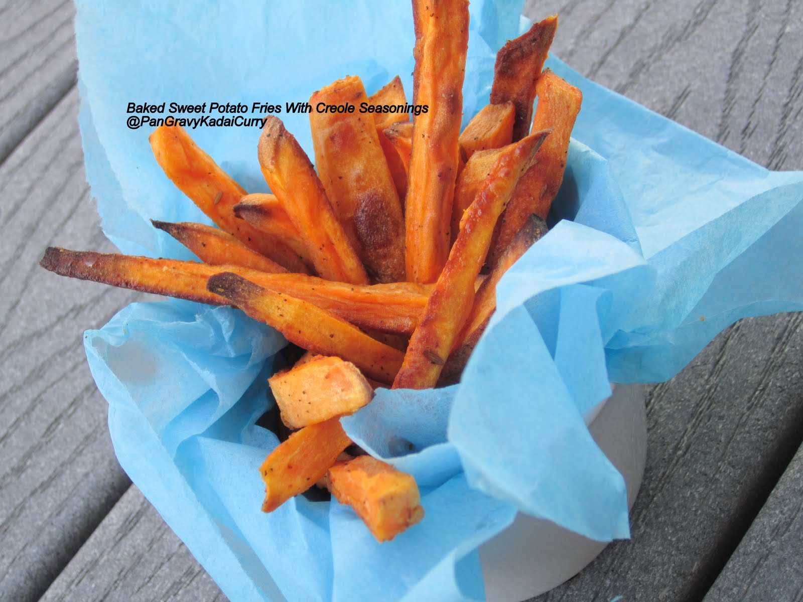 Pan Gravy Kadai Curry: Baked Sweet Potato Fries With Creole Seasonings