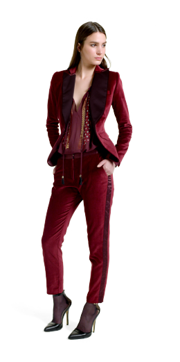 Altuzarra For Target Collection: Embroidered Blouse, red, velvet blazer, tuxedo pants, ankle strap shoes, fashion, designer, style, the purple,scarf, melanie.ps, toronto, ontario, canada