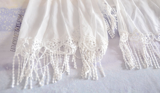 Close-up of the fringed crochet hem on the longline tassel kimono from SheIn.