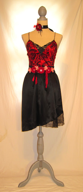 Women's charming fancy high waist strap dress, floral patterns over attractive red shiny black lace