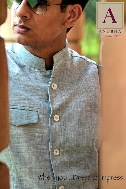 'A' by Anubha, Anubha Srivastav, khadi cotton jacket, nehru jacket, khadi nehru jacket